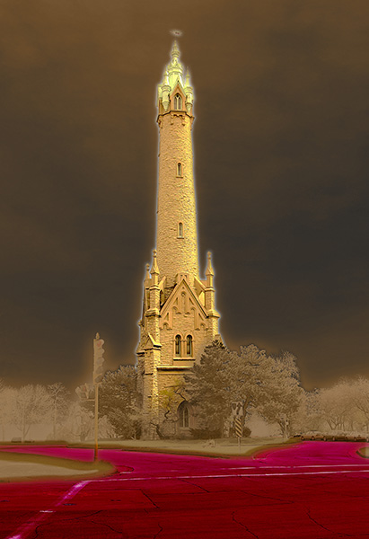 Image of Water Tower Light Painting