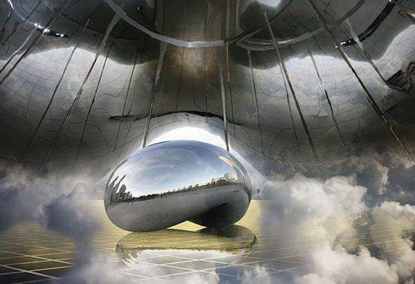 Image of Cloud Gate Sculpture Light Painting